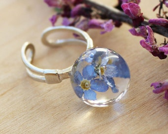 Forget me not ring Real flower ring Forget-me-not Floral ring Botanical ring  Sterling silver ring Flower jewelry Resin jewelry forget me no