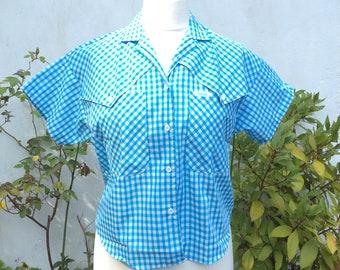 Vintage Wrangler Deadstock gingham shirt, S, blue gingham Deadstock with labels