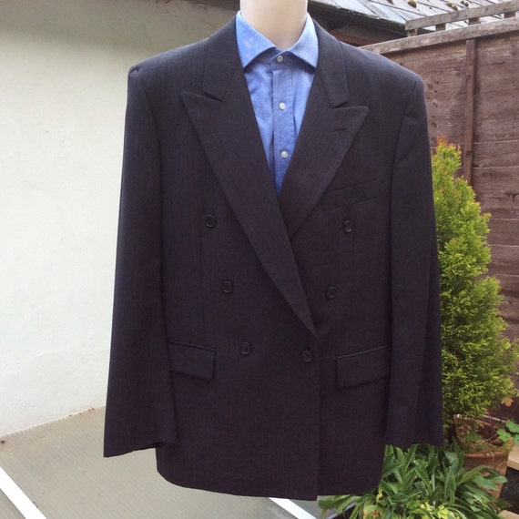Vintage Italian Wool Jacket 40 In L Eu 50 Double Breasted For Etsy