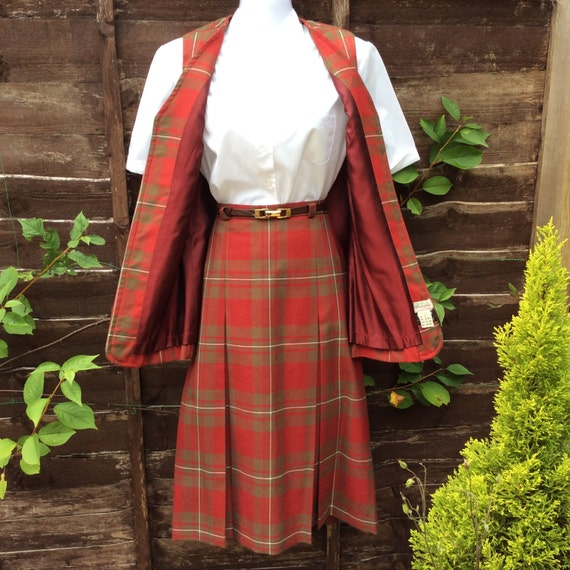 Vintage S/M 60s Scottish tartan two piece - image 5