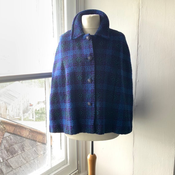 Vintage 1960s Welsh tapestry wool short cape, S/M