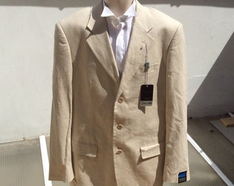 Vintage 40 in Long102 cm linen jacket  stone/cream coloured Deadstock with tags Butler & Webb