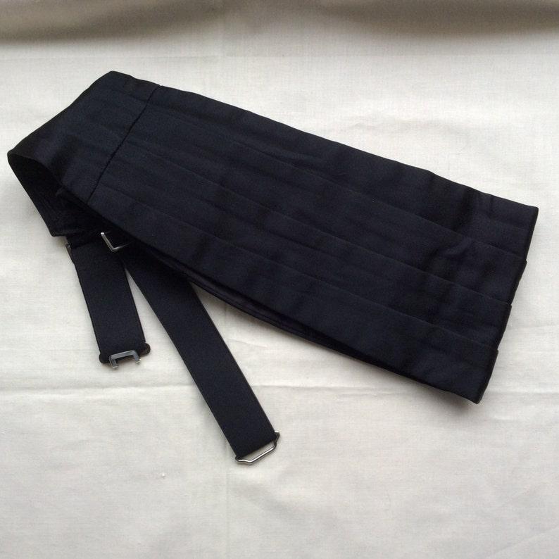 Vintage AKCO black satin cummerbund 34-37 86-94 waist black image 0