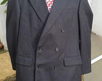 Vintage R 38 wool double breasted jacket dark grey/black. Tailored by Berwin & Berwin for John Lewis, England.