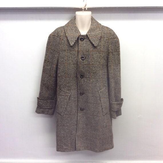 Vintage wool mix overcoat, Hepworths, M L, tweed o