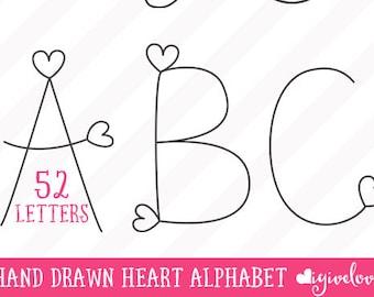 Hand Drawn vector heart alphabet - Heart Alphabet - Valentine's alpha clip art - Heart Letters - vector doodle Valentines - Commercial