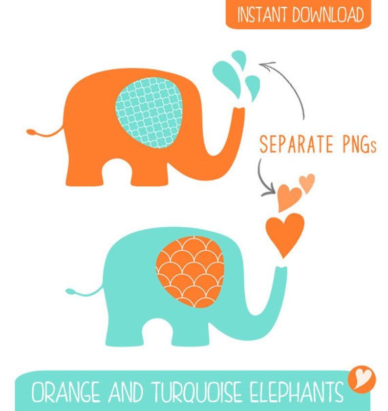 Orange and Turquoise Elephant Clip Art / Commercial ...