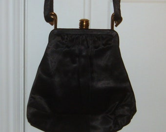 c1aac4b6f53c Vintage Graceline Originals 1940s Black Satin Kiss Lock Evening Bag