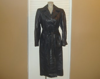 Vintage 70s Long Blue Leather Spy Trench Coat~M~