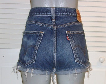 debd8b4a Vintage Levis 505 Distressed High Waist Cut Off Jean Shorts~14~