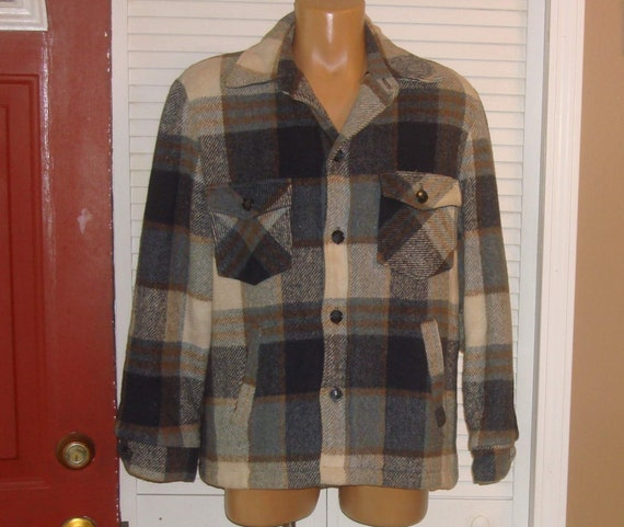 Vintage Sears Blue Plaid Wool Blend Mackinaw Shirt