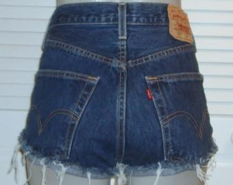 Levis 501 High Waisted Cut Off Festival Blue Jean Shorts~11~