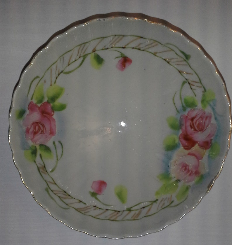 Antique Candy Dish-porcelain-gold Trim-pink Roses-footed-marked-scalloped Antiques