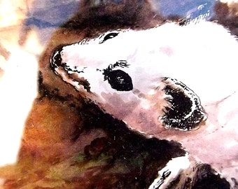 Arctic Ferret  original Ink painting a natural history illustration of an arctic ferret