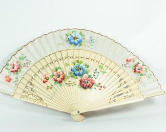 Fan, Silk,Hand painted, Hand fan, Vintage, Hand painted silk fan, Hand painted silk, Antique Fan, Vintage fan, Fans,Painted hand fan, Gifts