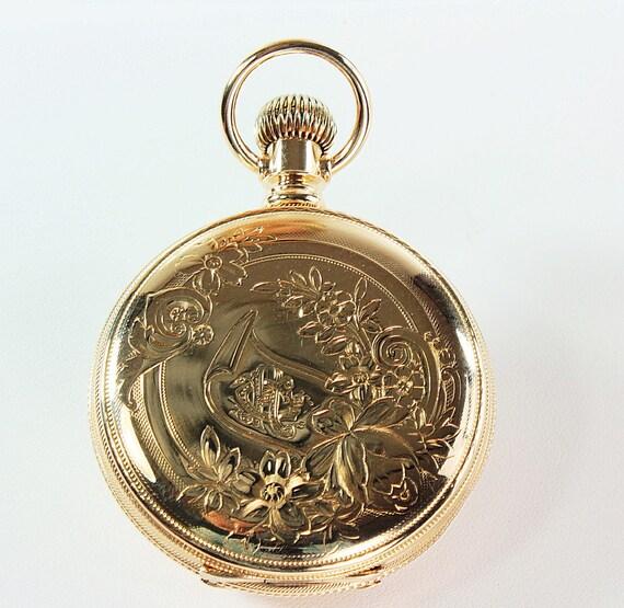 Engraved Pocket Watch Elgin Pocket Watch Gold Pocket Watch Etsy