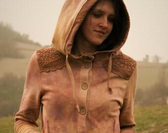 Wild Rose jacket  organic cotton hemp mix hand dyed jacket with hood