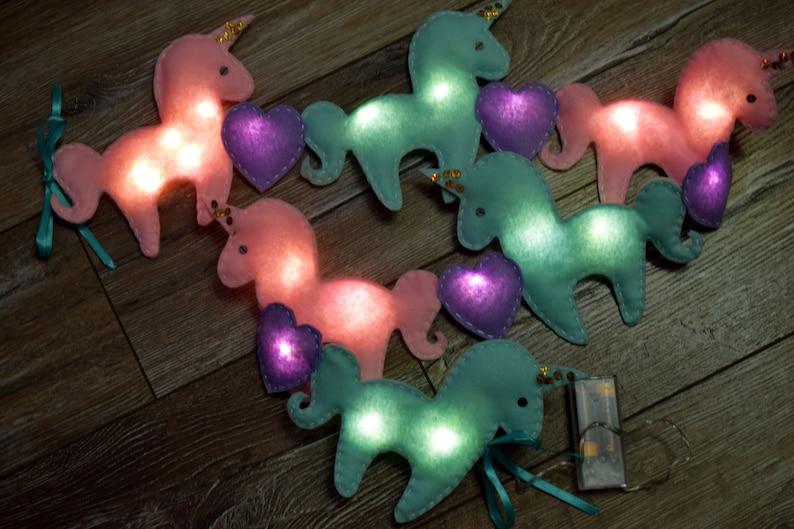 Unicorn Fairy lights Baby room lights Felt nursery decor LED string lights Lights garland Baby bedroom Party Lighting Kids night lights