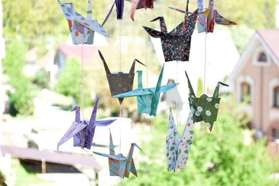 Rainbow Origami Crane Mobile | Etsy | 380x570