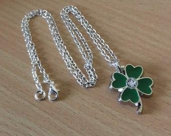 Four Leaf Clover Necklace, Lucky Charm Necklace, Green Clover Necklace, Four Leaf Clover Jewelry, 4 Leaf Clover Necklace