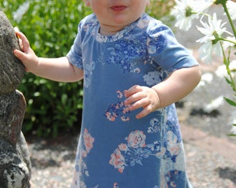 Baby Tshirt Dress - Floral Baby Dress - Floral Toddler Dress - Soft Baby Dress - Modern Baby Dress - Blue Baby Dress - Swing Dress