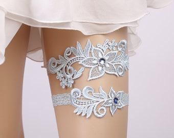 Wedding Garter Rhinestone Lace Flower Blue Sexy Garters 2pcs set for Women  Female Bride Thigh Ring Bridal Leg Garter 0f87bf112579