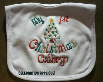 Personalized, My First Christmas Bib