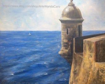 """Old San Juan Garita El Morro, Puerto Rico Art, original oil painting square 12x12"""""""