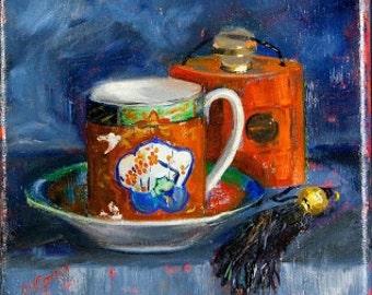Coffee art, Original oil painting, Imari cup and perfume