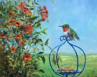 Hummingbird original oil painting, 12x12 canvas, art gift ,Wanda Caro
