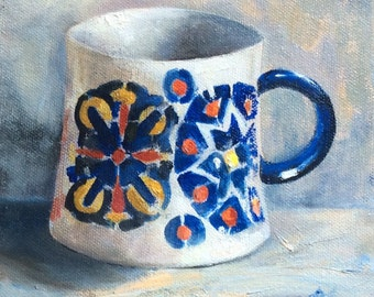 Coffee art, Blue and white demitasse, teacup, cup,  espresso, oil painting