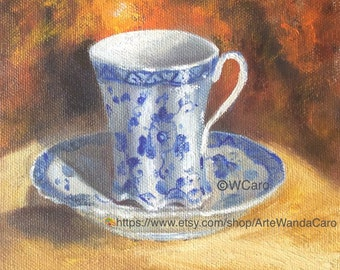 Coffee Tea art,blue and white fluted cup, Asian , still life original oil painting by Wanda Caro,  6x6