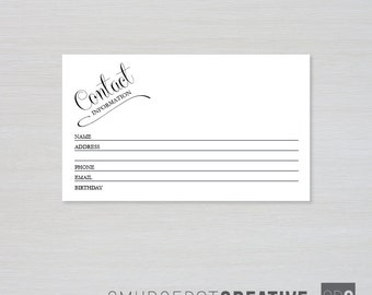 printable contact information cards 3 x 5 indexrecipe card guest book alternative instant download for diy printing