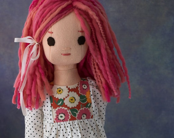 Wool Rag Doll with Pink Hair and Doll Dress Pattern