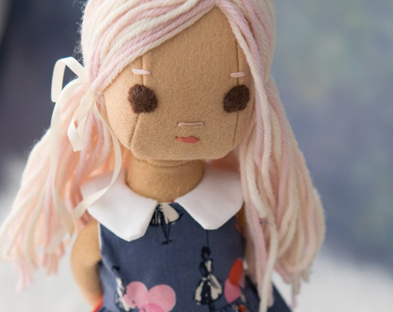 ExtraSmall Phoebe Rag Doll with Pink Hair