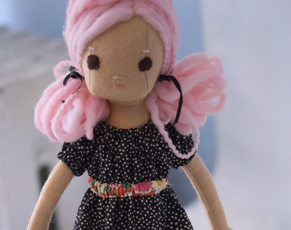 Rag Doll with Pink Hair, 16.5 inch Phoebe