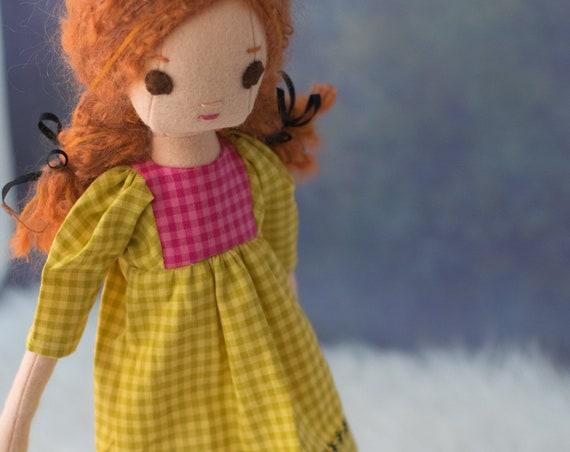 Natural Fiber Redhead Rag Doll, 16.5 inches