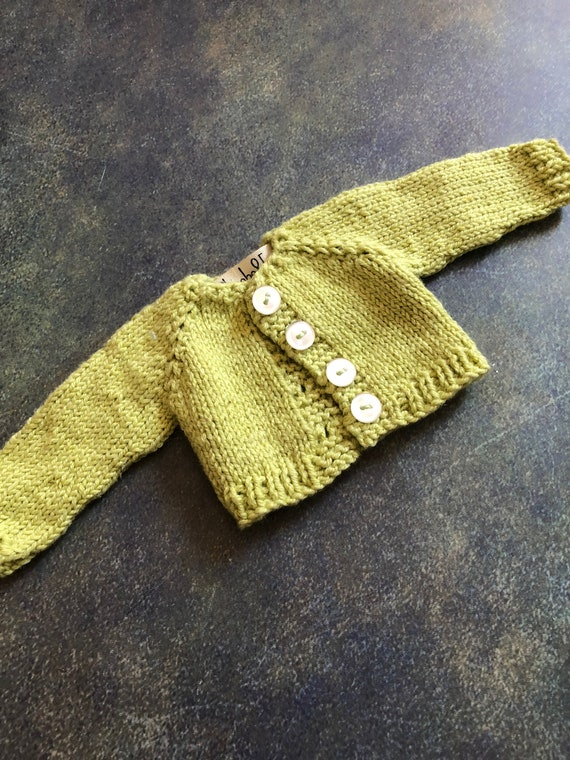 Hand Knit Doll Cardigan for 14 inch Rag Doll