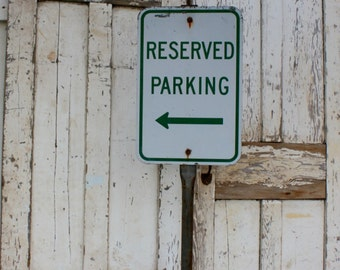 Metal Sign / No Parking sign / 1950's Sign / Freestanding Sign / Sign / Vintage Sign / Parking Sign / Man Cave