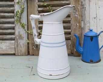 Large / French / Enamel / Pitcher / Enamel Pitcher / Jug / French Enamelware / French Vintage / Enamel Jug / Antique Enamelware /