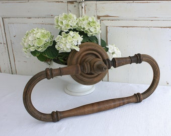 Able 1920s Old Wall Towel Rack Wood With Metal Rail Antiques Woodenware