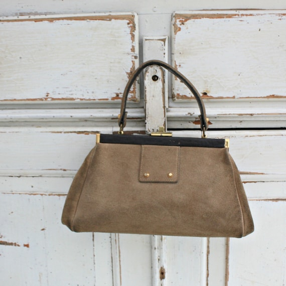 Suede top handle bag, Gladstone bag, Vintage Engli