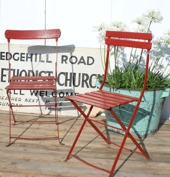 Superb Old Red French Folding Garden Chairs French Garden Furniture Ncnpc Chair Design For Home Ncnpcorg
