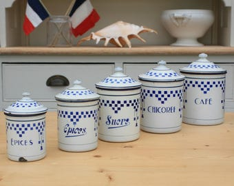 French Enamelware / French Enamel / Kitchen Canisters / French Kitchen / Shabby Chic / Blue and White / French Country
