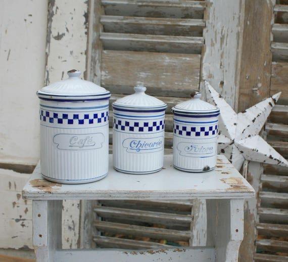 Kanister / französische Enamelware / Emaille / Küche Kanister | Etsy