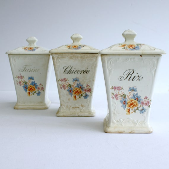 Set Of Three Large Old French Ceramic Kitchen Canisters Or Etsy