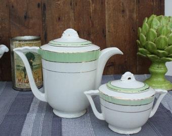 French Coffee Pot / Art Deco  / Vintage coffee pot / French Vintage / French Kitchen / Vintage Kitchen / French Ceramic / Shabby Chic