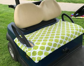 Green And White Moroccan Terry Cloth Golf Cart Seat Cover