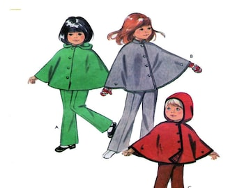 126110db44313 Style 2962, Girl, Cape, Capelete, Poncho, Winter Wrap, Hood, Mandarine  Collar, Button Front, Pull On Pant, Vintage Sewing Pattern, Size 3