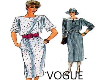 9949317edc Vogue 9281, Women Dress, Sewing Pattern, Tunic Top, Boat Neckline, Pencil  Skirt, Long Sleeve, Short Sleeve, 80s Style, Size 12-14-16, UNCUT